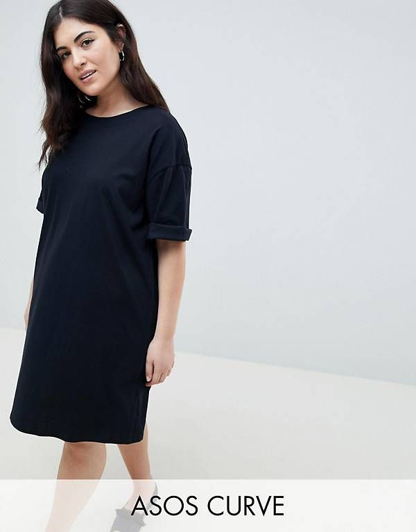 8949e2a29f1 ASOS CURVE Ultimate T-Shirt Dress with Rolled Sleeves