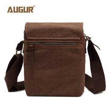 AUGUR Vertical Men Canvas Shoulder Cross Body Bag Casual Messenger Bag - US$32.25