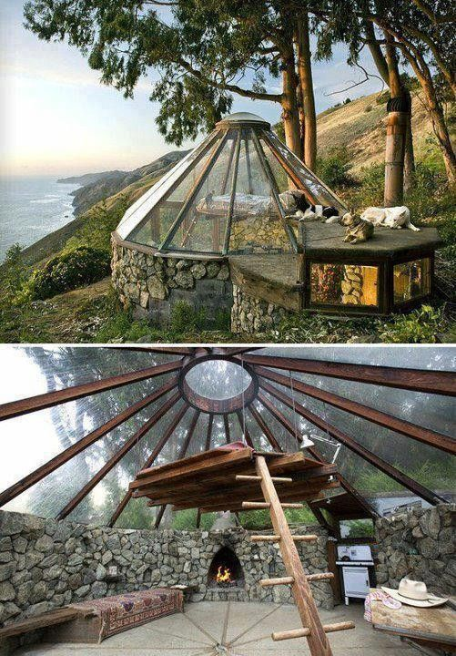 MICRO HOUSE WITH SKY LOFT - While it looks like a greenhouse, this coastal home in California, built by Mickey Muennig, has a removable window which helps keep the place cool #unique...x