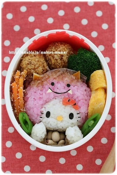 Traditional end of winter kitty bento