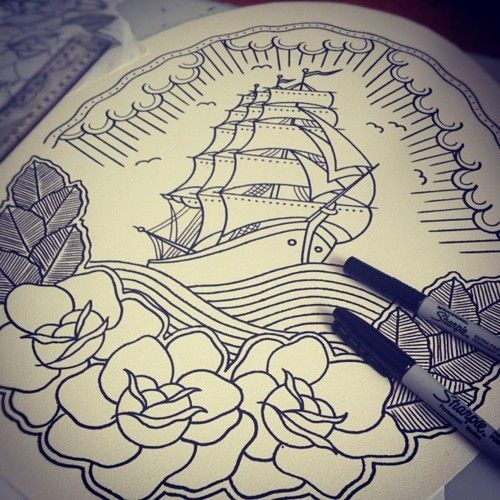 ship and roses design