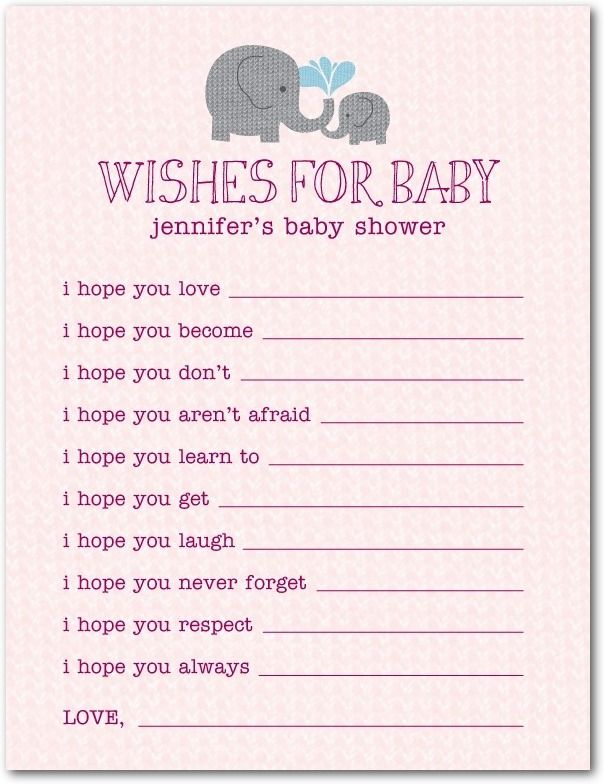 Wishes For Baby ~ at a baby shower, have each guest fill out a card that you and your baby can cherish together as your baby grows up!