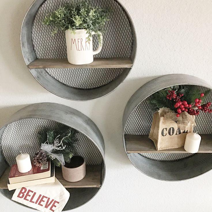 Galvanized metal round shelves. Coal for Christmas. Merry Christmas mug. Rae Dunn clay.