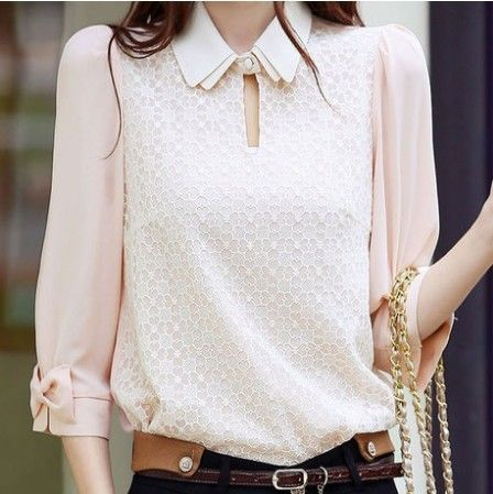 Free shipping casual womens large size chiffon shirt collar doll chiffon lace blouse lace vestido blusa de ashion leisure  base-inBlouses & ...