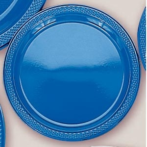 "Plastic Marine Blue Dinner Plates. Plastic 10.25"" Dinner Plates Solid ColoursThere are 20 Plastic Dinner Plates per package. They are a LARGE 10.25 inches and come in 22 colours to suit any theme or event. This is a great item if you require a large plate that is stronger than paper."