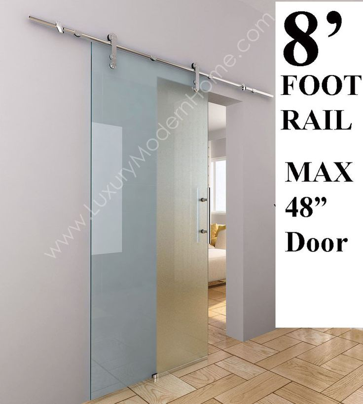 Sliding barn door hardware glass 8 39 feet 98 modern for Long sliding glass doors