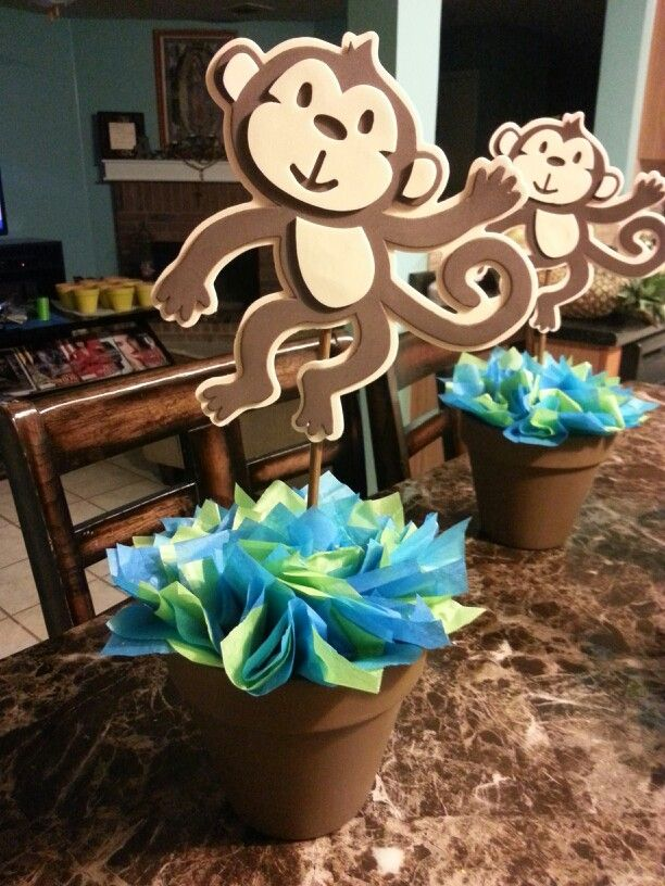Monkey centerpiece for baby shower