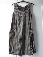 GUDRUN SJODEN ORGANIC COTTON STRIPED APRON DRESS L UK 14 16 18 LAGENLOOK VGC