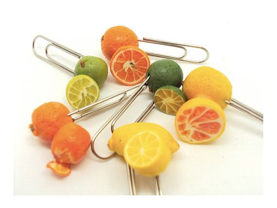 Black Friday Etsy Free Shipping Citrus Miniature Paper clips by SmallIdea