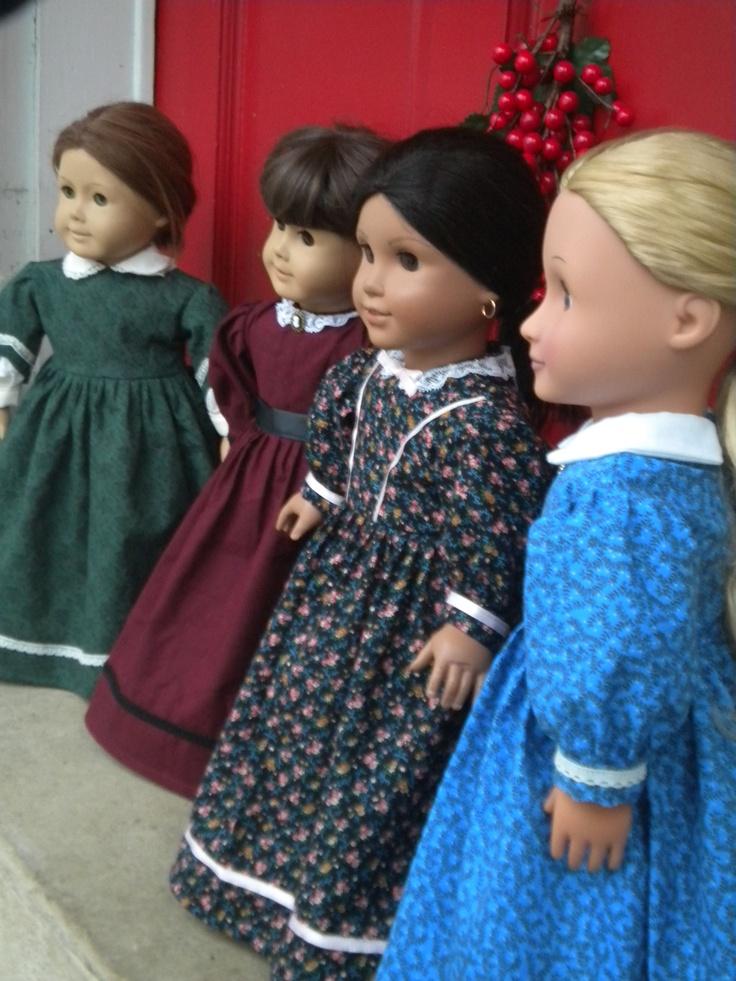 A Little Women Christmas - set of four civil war period dresses for 18 inch dolls