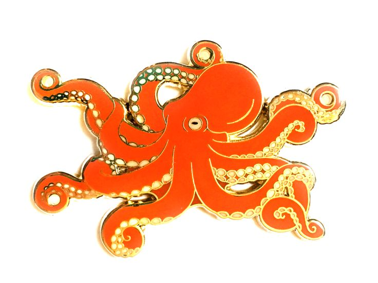 This super detailed octopus hard enamel pin, available in two colors, is perfect for cephalopod enthusiasts! THE NITTY GRITTY ✎ One truly enormous 2-inch (51mm) hard enamel pin, made from my original