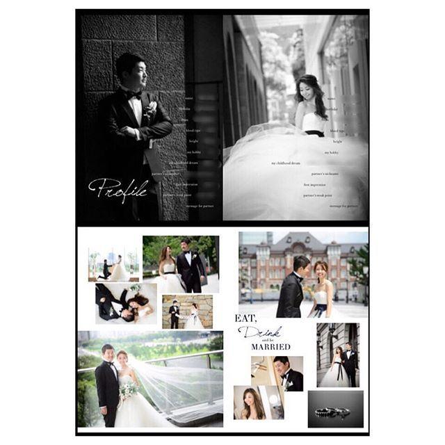 . プロフィールブック 2 . P.3〜P.6 お互いのプロフィール 前撮り写真を沢山✨ . #プロフィールブック#プロフィールブック手作り#ウェディングブック#DIY#プレ花嫁