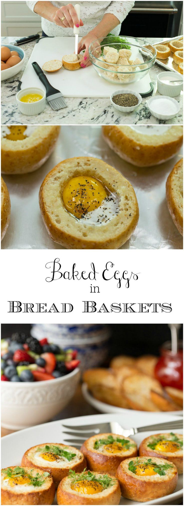 Baked Eggs in Bread Baskets - perfect for an easy, everyday breakfast these eggs are also wonderful for breakfast and brunch get togethers, as most of the prep work can be done ahead of time!