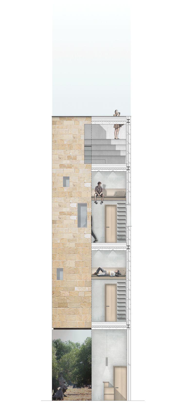 02_section and elevations | Luglio 2014 | Architectural Competition for students and young architects. Archistart. LHT LeveranoHorizonTower. Riflessi di paesaggio project francesco polci giacomo razzolini antonio salvi