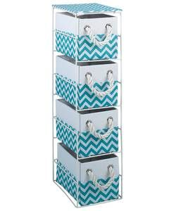 HOME Chevron 4 Drawer Storage Unit - Turquoise.