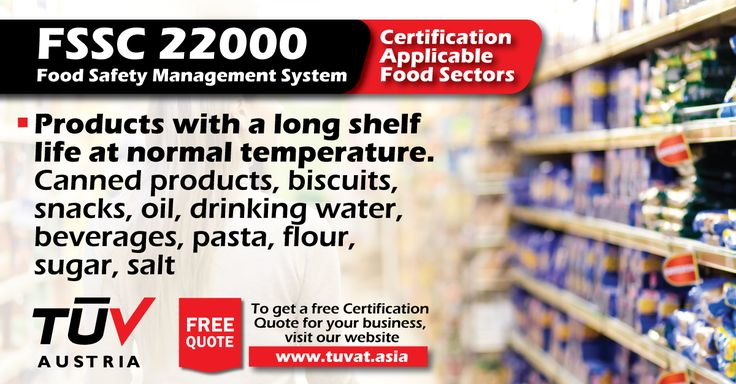 The FSSC 22000: Food Safety Management System. For further queries how we can assist you: tuvat.asia/get-a-quote, or call Pakistan: +92 (42) 111-284-284 | Bangladesh +880 (2) 8836404 | Sri Lanka +94 (11) 2301056 #FSSC22000 #certification #ISO #safety #TUV #job #certification #Pakistan #Bangladesh #Srilanka