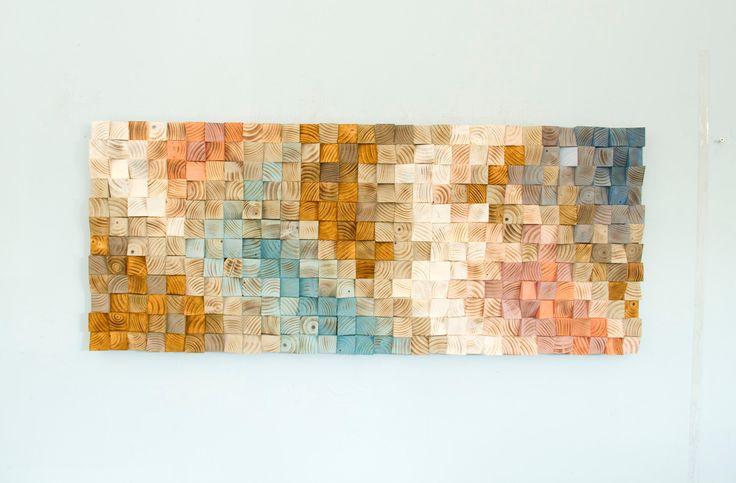 Hout Wall Art, geometrische houten kunst, mid century art, mozaïek, voorjaar 2016 kleur trends door ArtGlamourSligo op Etsy https://www.etsy.com/nl/listing/479929311/hout-wall-art-geometrische-houten-kunst