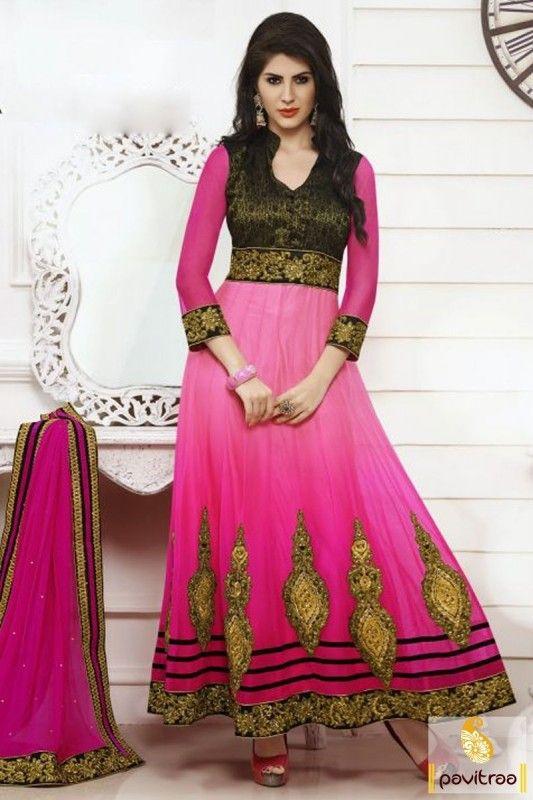 Exquisite Pink Color Anarkali Bridal Salwar Suit - Pavitraa