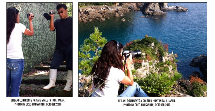 Leilani Munter documenting and protesting the Dolphin Hunt in Taji, Japan