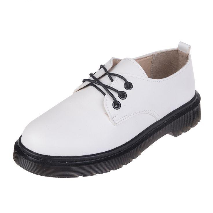 Новые Женщины Повседневная Круглый Toe Зашнуровать Оксфорд Обувь Старинные англия Стиль Женщины Оксфорды Дамы Досуг Плоские Туфли Оксфорды Для женщины
