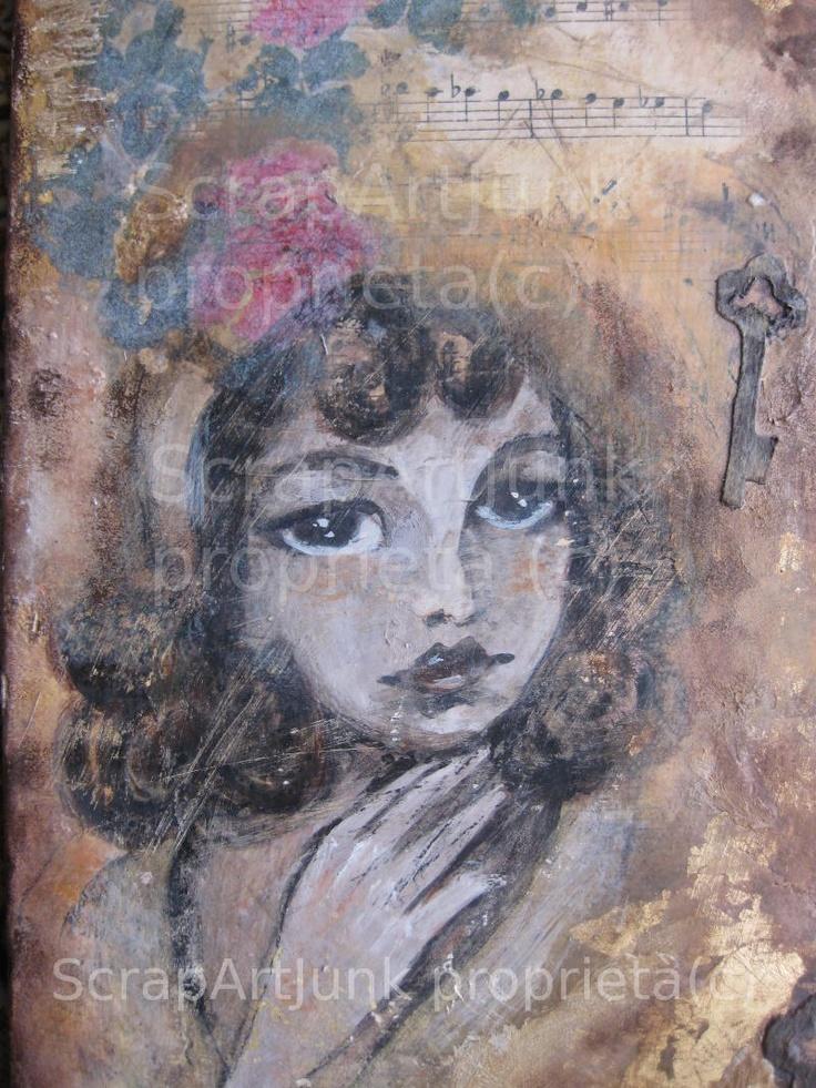 Stile #vintage tecnica #mixed media Supporto in legno collage  gesso #disegno #dipinto con colori acrilici  by Scrap Arte Junk