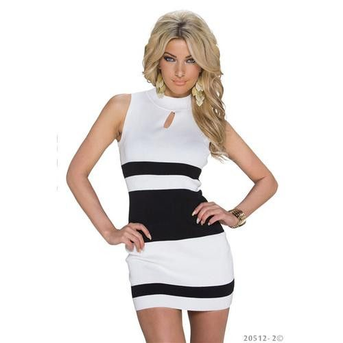 Fashion High Neck Contrast Color Jersey dress Clubwear White Neck