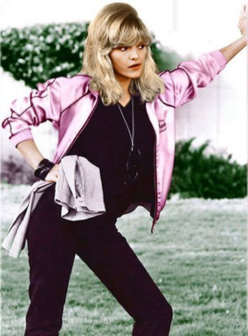 Michelle Pfeiffer working black skinnies in Grease 2