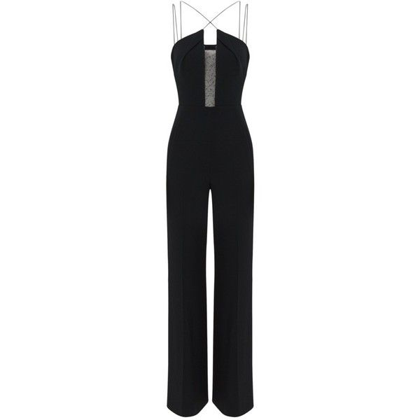 Malvern Designer Jumpsuit | Black Viscose | Roland Mouret Spring... ($2,080) ❤ liked on Polyvore featuring jumpsuits, roland mouret, summer jumpsuits and jump suit