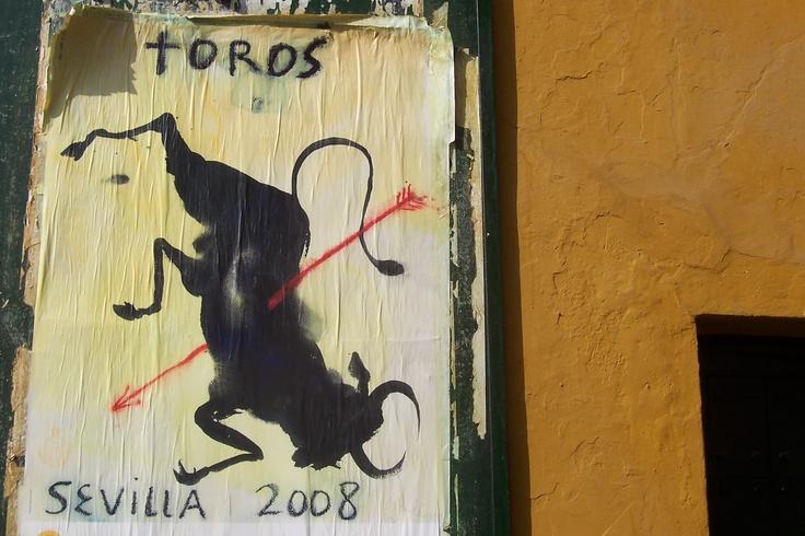 The end of an era. Bull fighting poster, Seville, Spain.