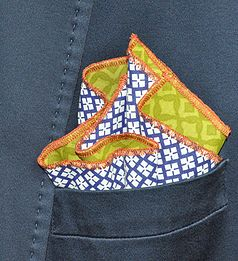 "FlankiiHankii.com | Pocket Squares | Style ""Limey Blues"" Shown Here 