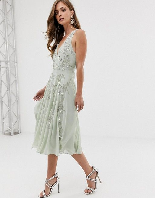 DESIGN twist strap pretty pearl embellished midi dress