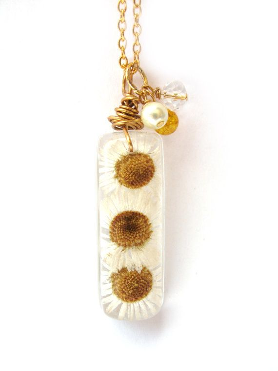 Real Daisy Necklace  Real Daisies Encased in Resin  by ScrappinCop, $12.00