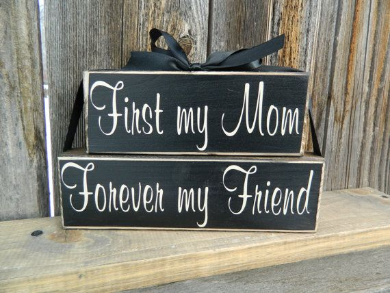Mothers Day Wood blocks--First my Mom Forever my Friend- home decor on Etsy, $10.00