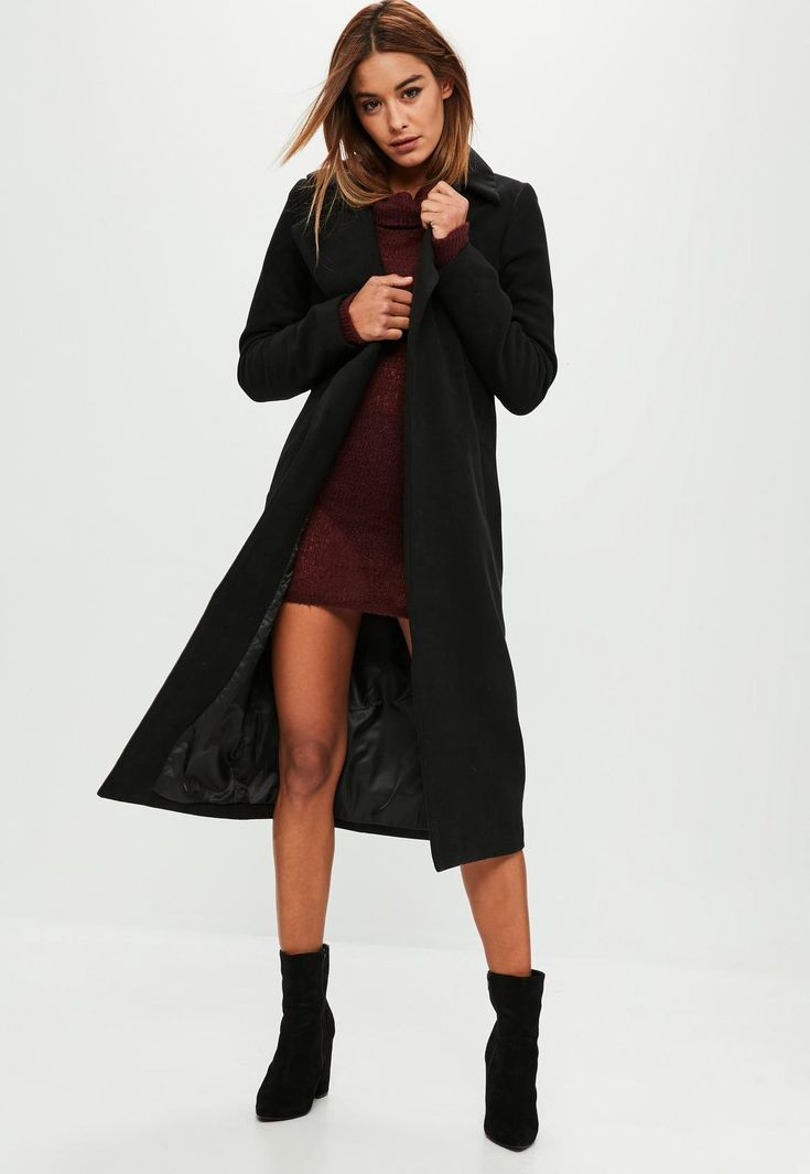 Missguided - Tall Black Longline Faux Wool Duster Coat
