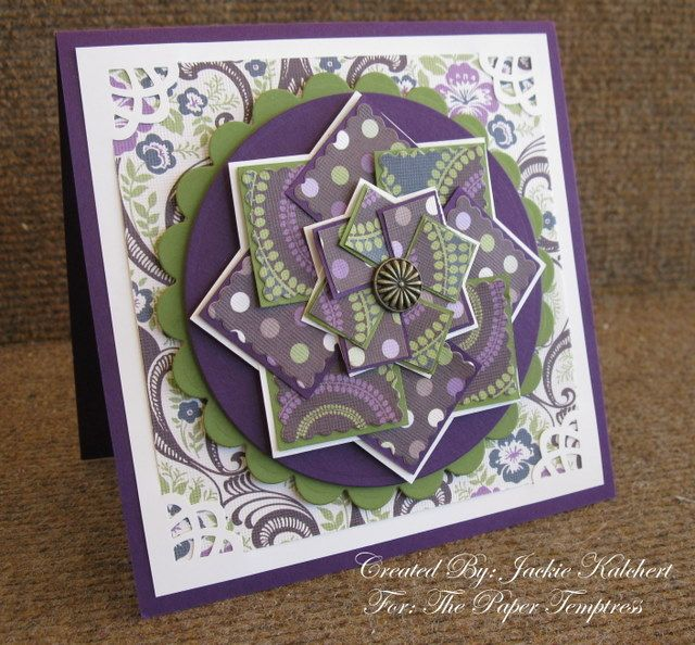 double pinwheel (windmill) card in my fav color combo of purple and green
