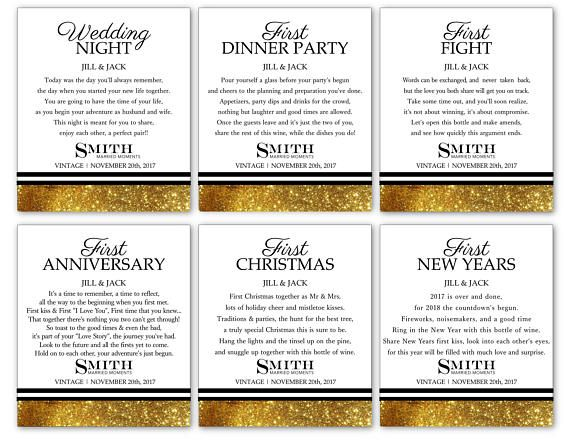 Married Firsts Gift Set with REAL GLITTER Wine Labels 6