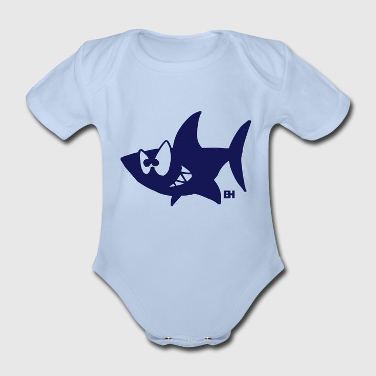 Hai Baby Bio-Kurzarm-Body.  #hai #shark #baby #Spreadshirt #Cardvibes #Tekenaartje #SOLD