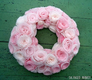 pink tissue roses.
