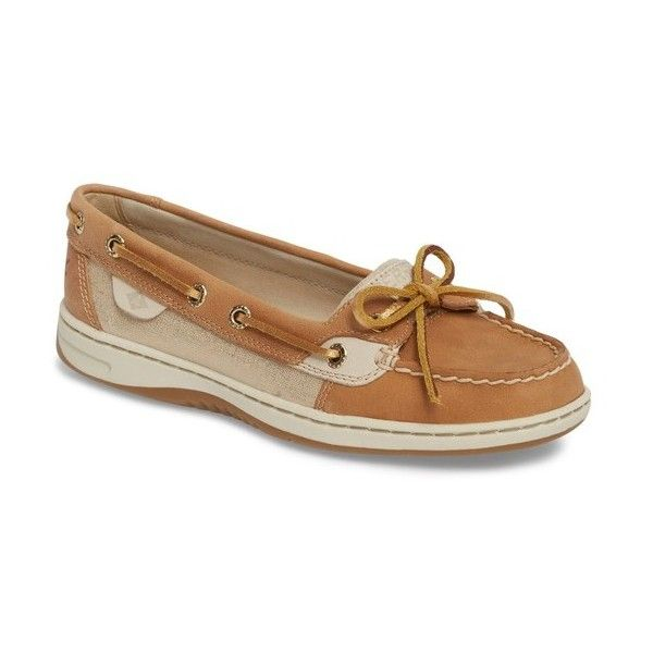 Women's Sperry 'Angelfish' Boat Shoe (115 AUD) ❤ liked on Polyvore featuring shoes, loafers, linen metallic leather, real leather shoes, shiny leather shoes, sperry top-sider shoes, sperry shoes and shiny shoes