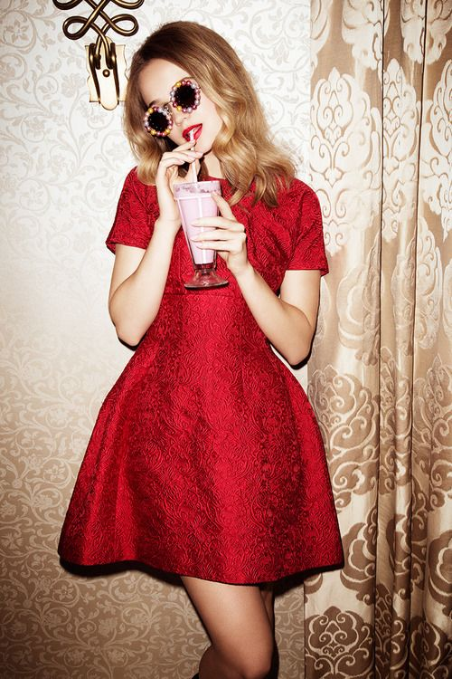 "The perfect little red dress. || ""Room Service"" Rosie Tupper for Glamour Spain December 2013"