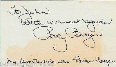 POLLY BERGEN MOVIE ACTRESS VINTAGE AUTOGRAPH SIGNED CARD W/ NICE INSCRIPTION