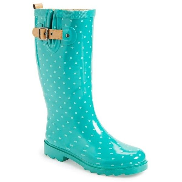 Women's Chooka 'Classic Dot' Rain Boot ($70) ❤ liked on Polyvore featuring shoes, boots, flat boots, jungle green, mid-calf boots, wellies boots, mid calf rain boots, polka dot rubber boots, rubber boots and chooka