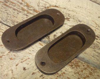 Cast Iron Inset Flush Door Pulls - Rounded (1 x Pair = 2 pulls)