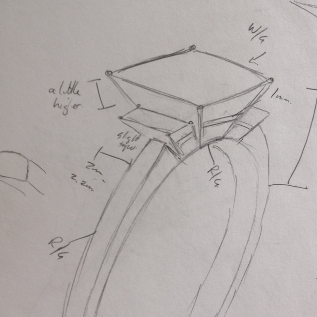 3 stone ring sketch with a princess cut centre and baguette cut shoulder diamonds