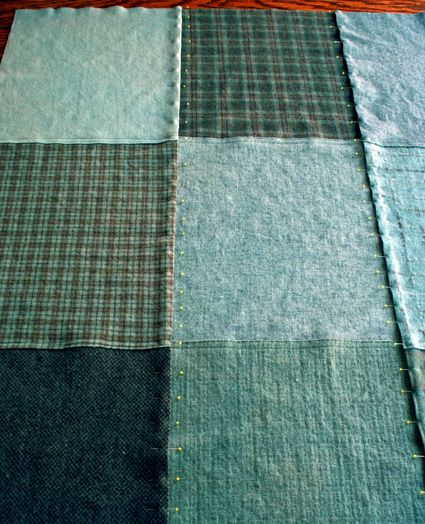 "How to make a patchwork ""quillow"" by Purl Bee - been wanting to make a throw from from old felted sweaters."