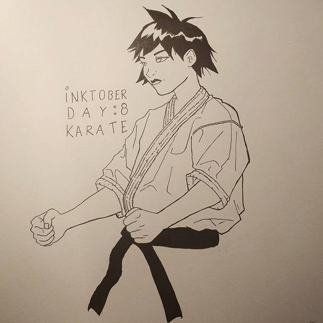 #inktober day 8: karate #inktober2016 #inktober2go #martialarts #karate #osu #shotokan #kyokushin #kata #streetfighter #sf #makoto #fanart #drawing #doodle #art #illustration #sketch #ink