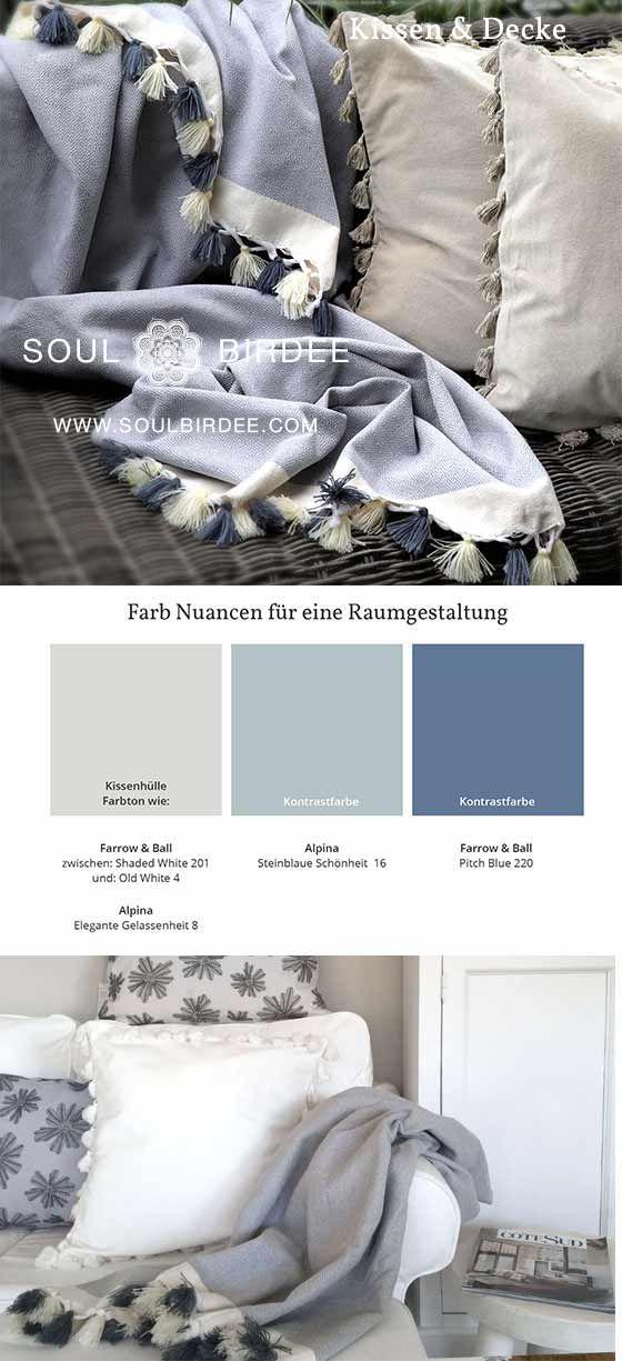 Farbkonzept Wohnzimmer Livingroom In Grau Salbei Blau Maritim. Samtkissen  Mit Bommel BOHO Style Und Decke