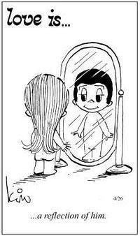 his reflection: Love, Life Quotes, Happy Lov, Love Is Comic, Kissi Kiss, Amazin Quotes, Amor Es Lov, Honey, Comic Strips