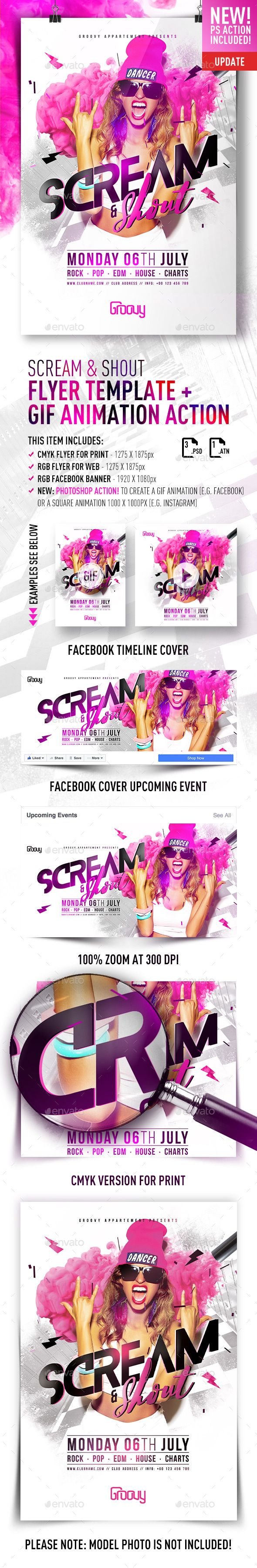 Scream & Shout Flyer Template + GIF Animation Action — Photoshop PSD #sexy #dj • Download ➝ https://graphicriver.net/item/scream-shout-flyer/19403969?ref=pxcr