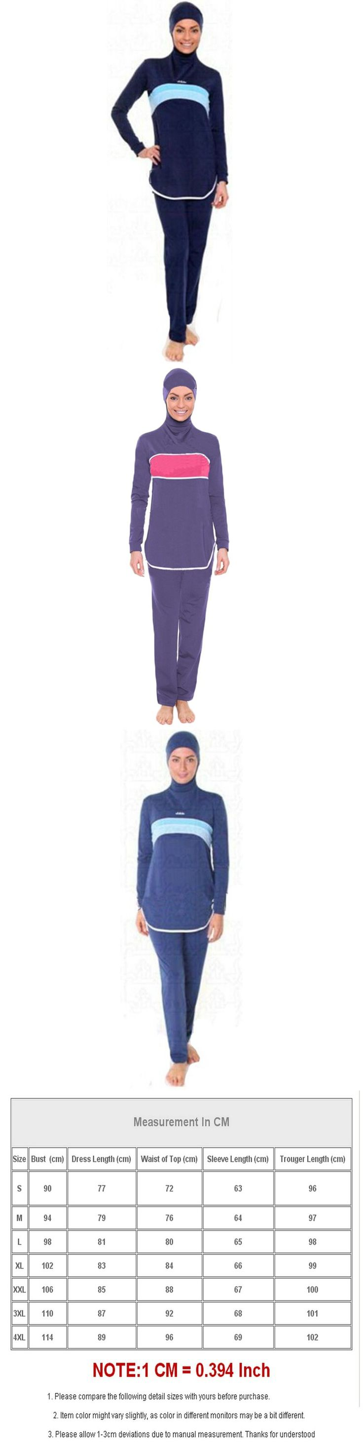 Modest Muslim Swimwear Islamic Swimsuit For Women hijab swimwear full coverage swimwear muslim swimming beachwear swim suit $48.98